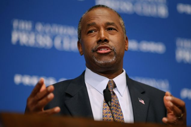 Dr. Ben Carson addresses the National Press Club Newsmakers Luncheon in Washington, DC. (Photo: Chip Somodevilla/Getty Images)