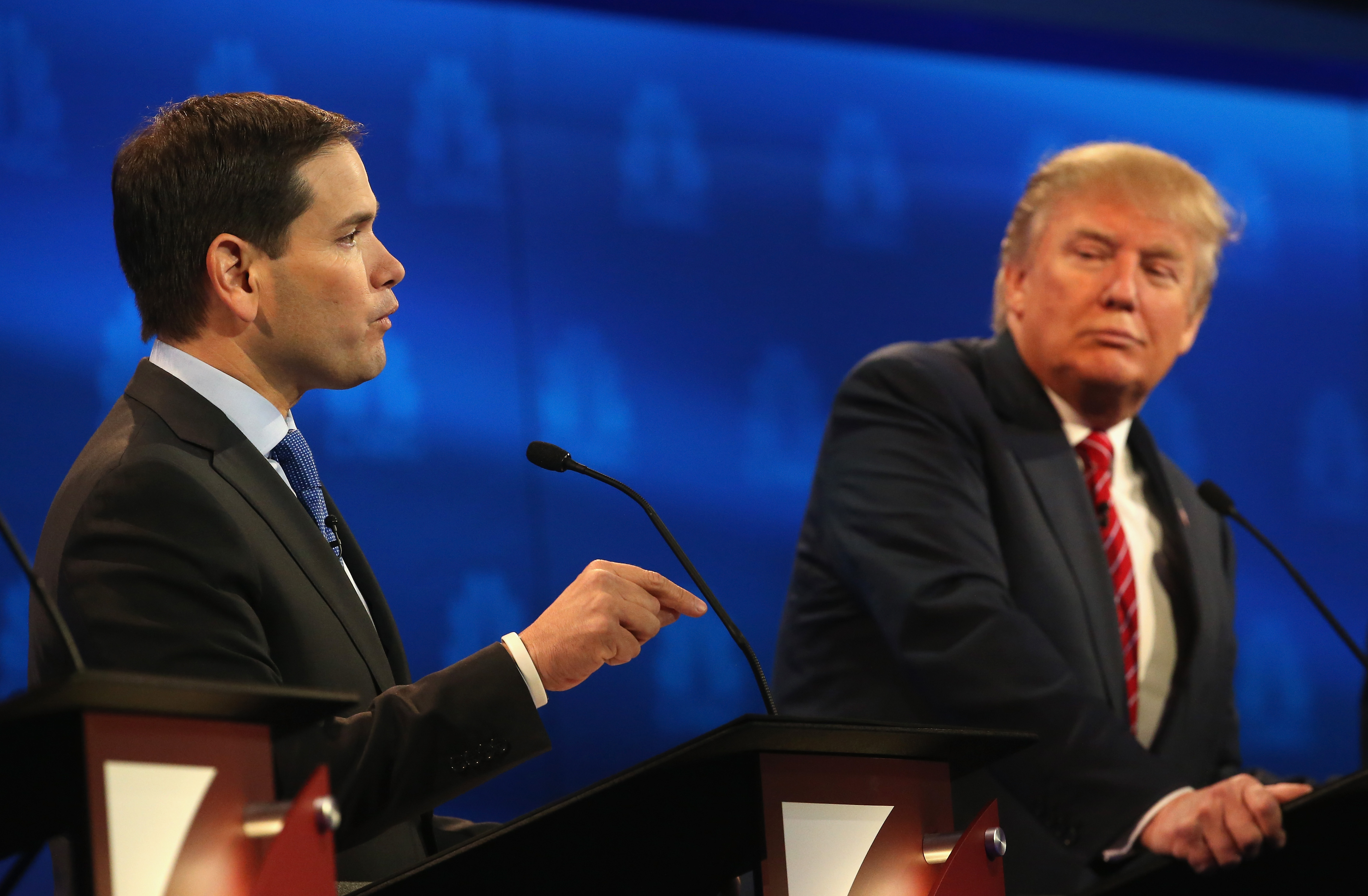 Sen. Marco Rubio speaks while Donald Trump looks on during the CNBC Republican Presidential Debate on October 28, 2015 in Boulder, Colorado. (Justin Sullivan/Getty Images)