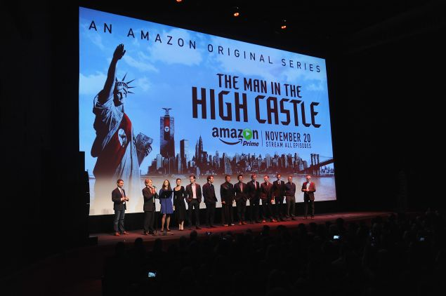 Actors on stage during the New York premiere of The Man in the High Castle. (Photo: Brad Barket for Getty Images for Amazon)