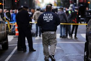 Police at the scene of the shooting outside Penn Station on Monday morning (Photo by Spencer Platt/Getty Images)