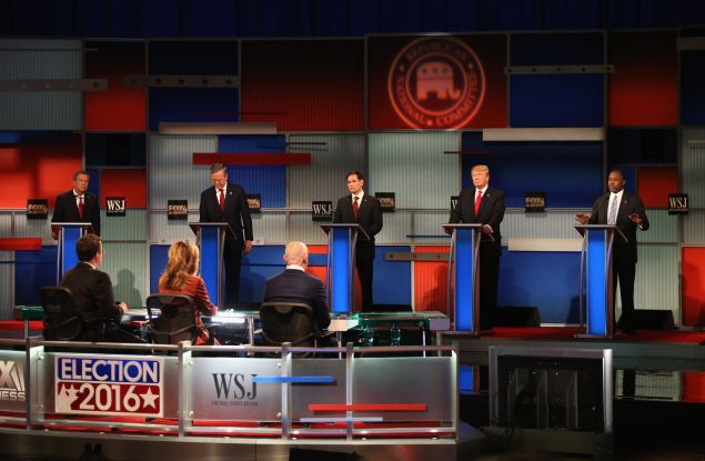 The Republican presidential candidates debate in Milwaukee. (Photo: Scott Olson/Getty Images)