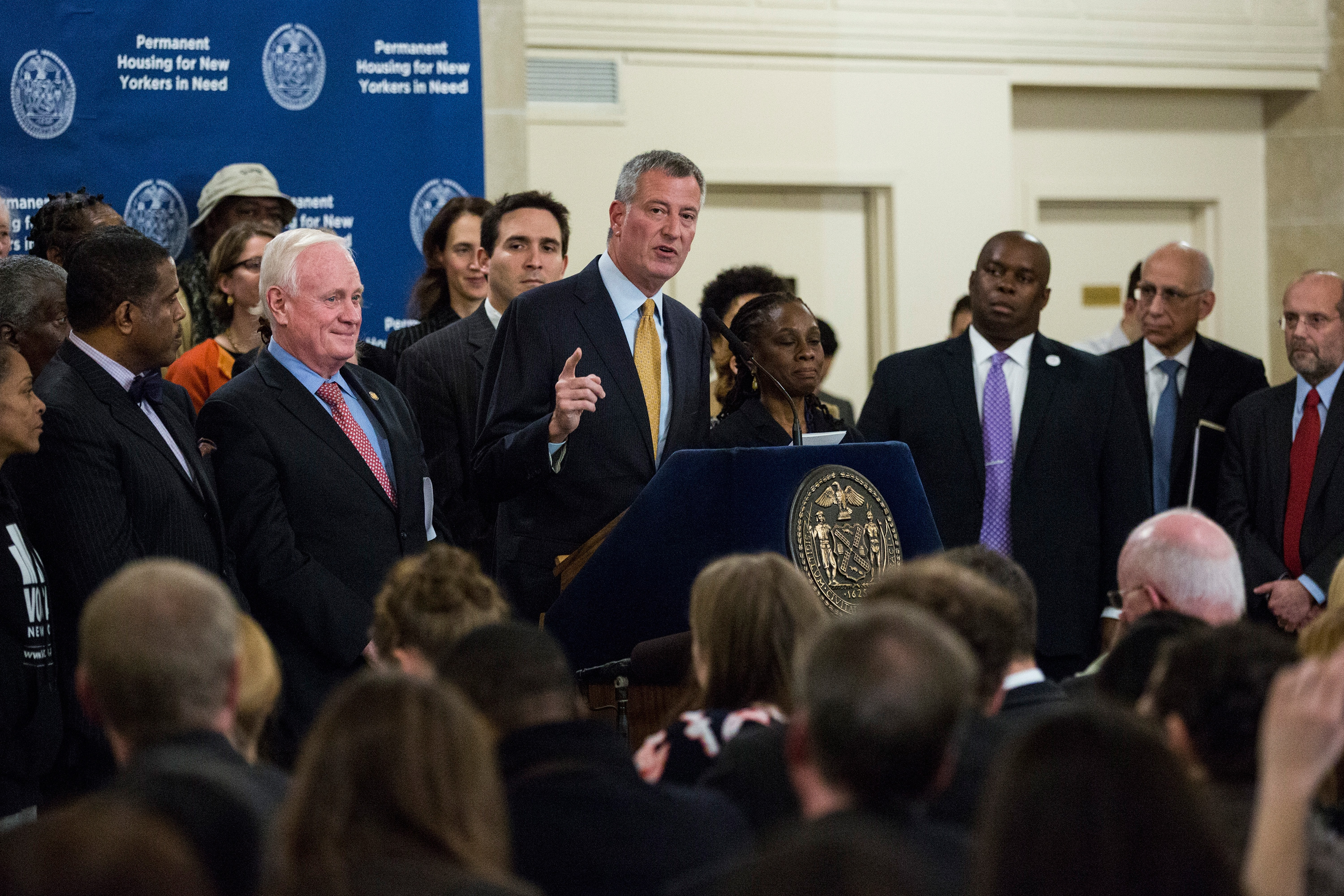 New York City Mayor Bill de Blasio announces a new initiative for housing for homeless people. (Photo by Andrew Burton/Getty Images)