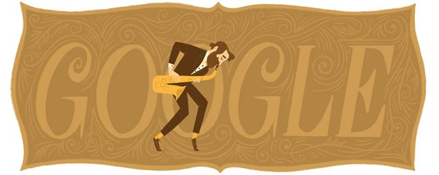 The Google doodle of Adolphe Sax.