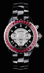 Chanel J12 in 18K White Gold, black ceramic & ruby bezel, chanel.com. (Photo: Chanel)