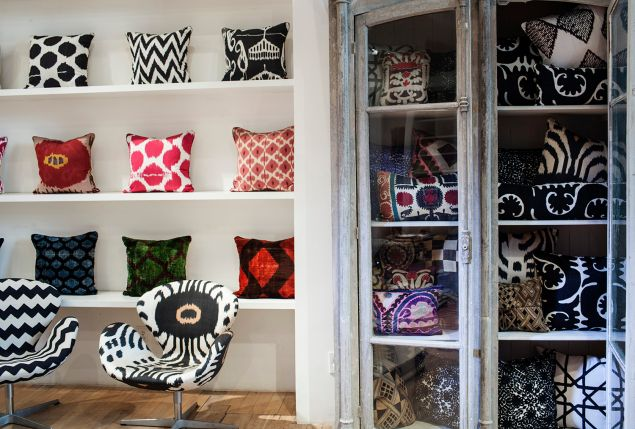 Madeline's Pillow wall featuring silk ikat and velvet ikat pillows (Photo: Andrea Chu for Observer).