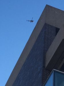 Helicopters spotted today at Harvard as bomb threats shut several buildings.
