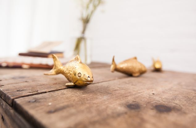 Goldfish hammered in brass (Photo: Emily Assiran for Observer).