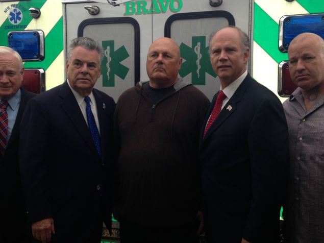 Joseph Zadroga, center, flanked by Congressman Peter King and Congressman Daniel Donovan (Photo: Will Bredderman for Observer).