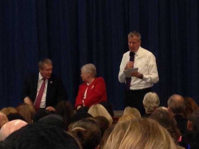 Mayor Bill de Blasio, right, with Schools Chancellor Carmen Farina and Councilman Daniel Dromm (Photo: Will Bredderman for Observer).