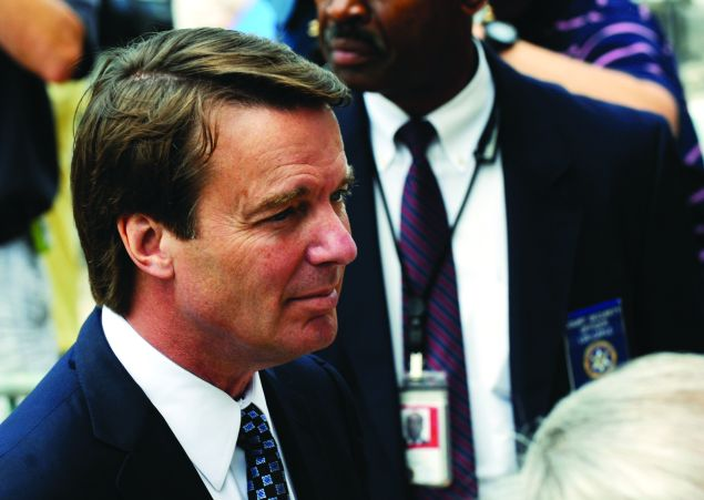 Former U.S. Sen. John Edwards returns from lunch during the seventh day of jury deliberations at federal court May 29, 2012 in Greensboro, North Carolina. Edwards, a former presidential candidate, plead not guilty to six counts of campaign finance violations and could face a maximum of 30 years in jail and $1.5 million in fines. (Photo: Sara D. Davis/Getty Images)