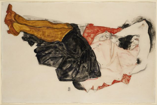 EGON SCHIELE Woman Hiding her Face, 1912 Gouache, watercolour and pencil on oar 12 1/5 × 18 1/2 in 31 × 47 cm Contact For Price RICHARD NAGY LTD.