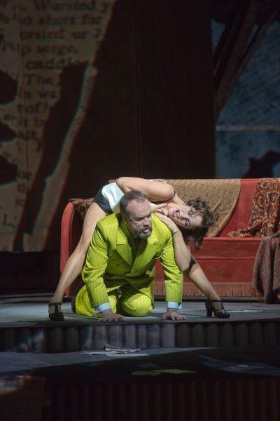 Marlis Petersen in the title role and Johan Reuter as Dr. Schön in Berg's Lulu. (Photo by Ken Howard/Metropolitan Opera)
