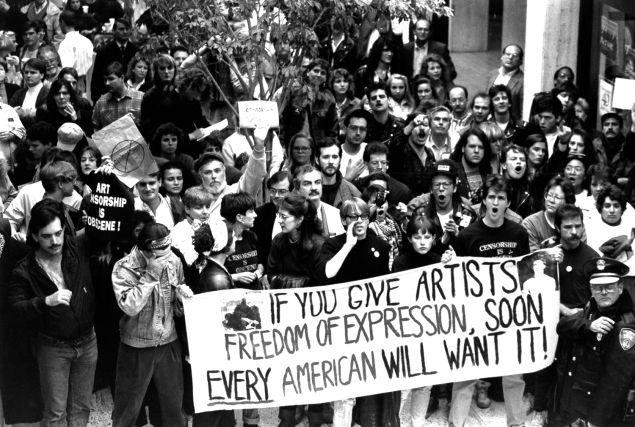 Pro-Mapplethorpe demonstration, 1990. (Photo courtesy of ClampArt New York City)
