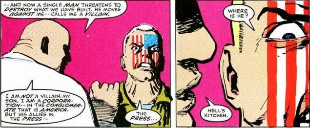 Wilson Fisk gives Nuke his motivation. (Image: Daedevil #232)