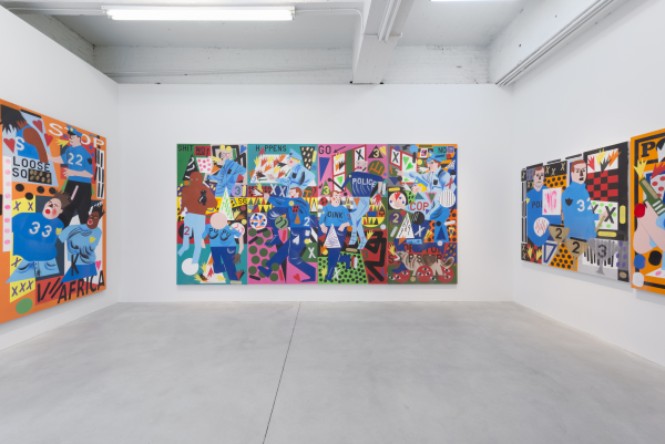 "Installation view of Nina Chanel Abney's ""Always a Winner"" at Kravets Wheby. (Photo: Courtesy of Kravets Wheby)"