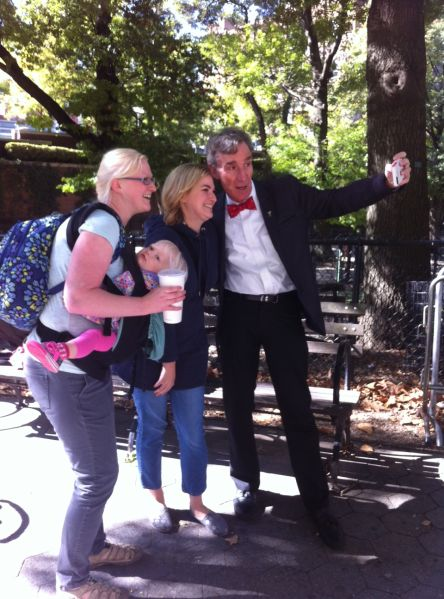Bill Nye with fans outside the American Museum of Natural History.