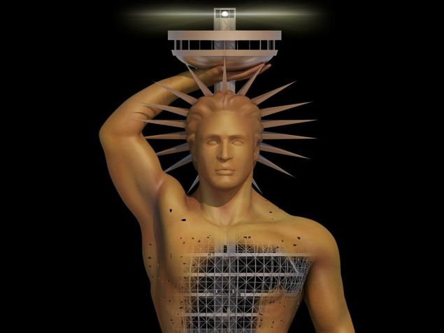 A projected view of the statue's lighthouse. (Photo: Colossus of Rhodes Project)