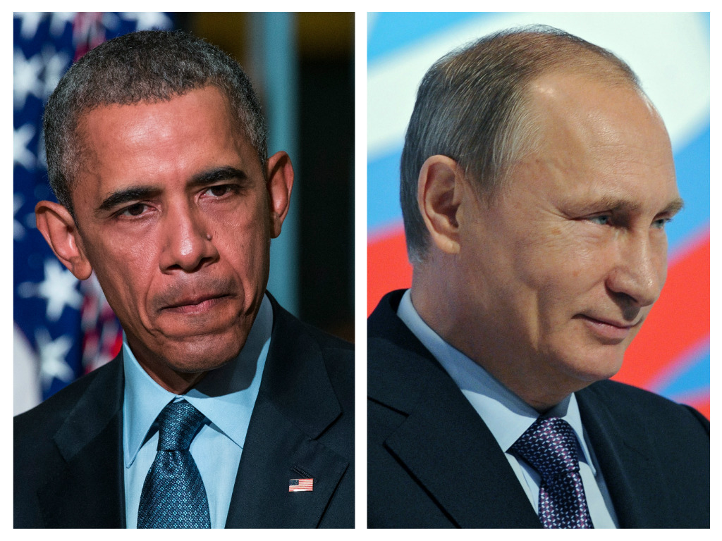 President Obama, Vladamir Putin. (Photo: (Photo by Andrew Burton/Getty Images), Photo credit should read MIKHAIL KLIMENTYEV/AFP/Getty Images)