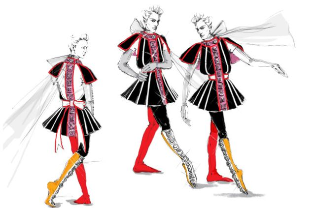 The Prada-designed costume for Fortuna Desperata.