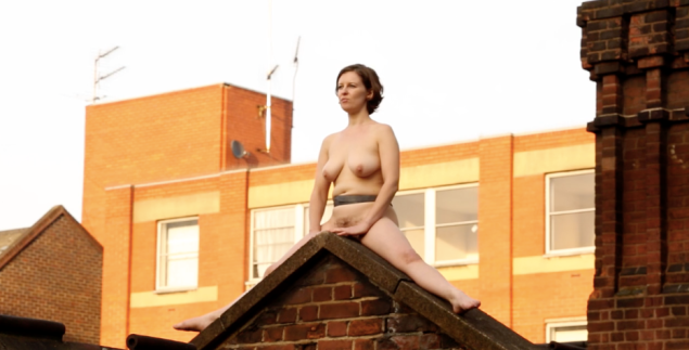 Artist Poppy Jackson during her 4-hour nude performance titled