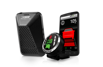 The small digital display sits on your dashboard and provides visual collision alerts. (Screengrab: Mobileye.com)