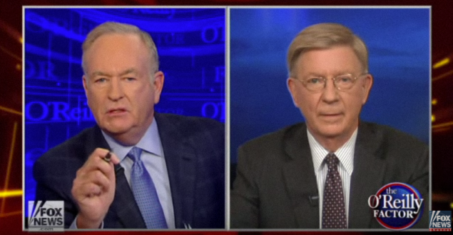 A screenshot of the shouting match between Bill O'Reilly and George will on Fox.