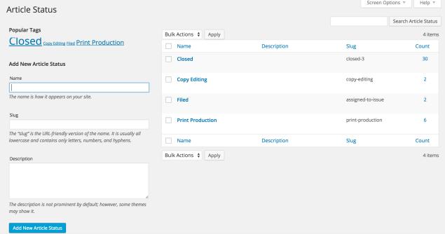 Custom article statuses in Eight Day Week plugin