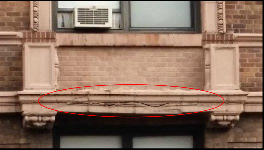 The picture that a consultant sent to the Buildings Department showing a crack in the facade at the Esplanade. (Photo: Department of Investigation)
