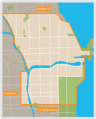 Via's area of operation in Chicago. (Photo: Via)