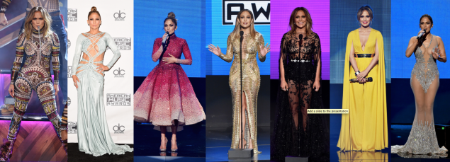 Jennifer Lopez in DSquared2, Michael Cinco, Julien Macdonald, Zuhair Murad, Michael Costello, and Charbel Zoe Couture (Photos: Getty Images).