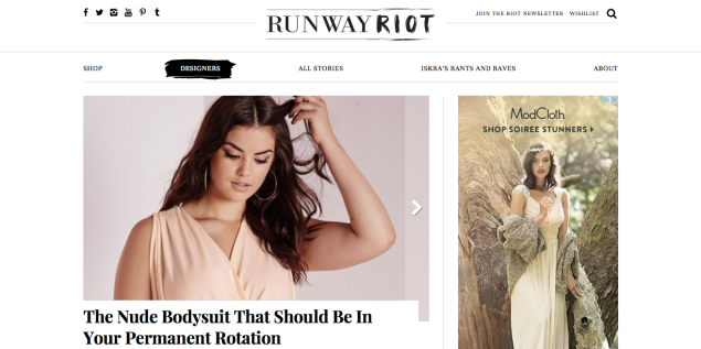 A sneak peek at the Runway Riot homepage (Photo: Courtesy Runway Riot).