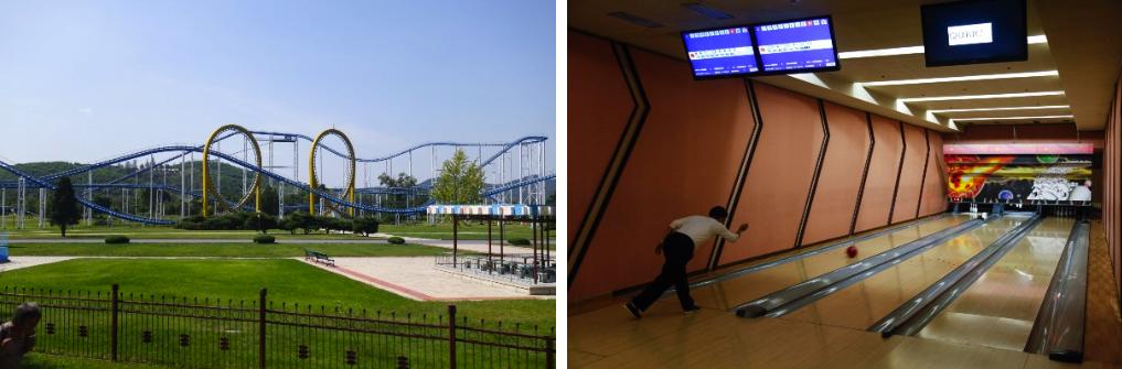 Amusement park (left); Bowling alley (right)