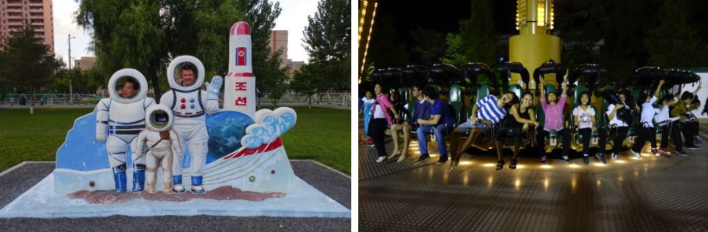 Posing with a rocket (left); Evening Fun Fair (right)