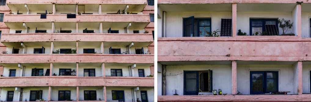 Close up of an apartment complex in Pyongyang