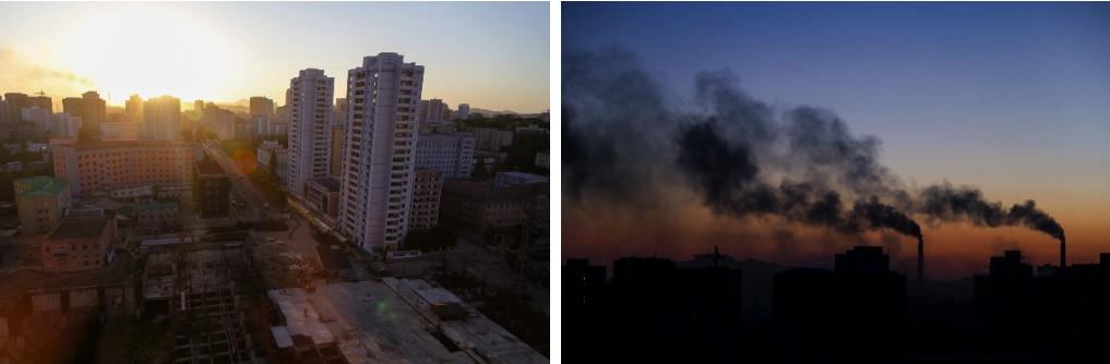 Pyongyang skyline at sunset