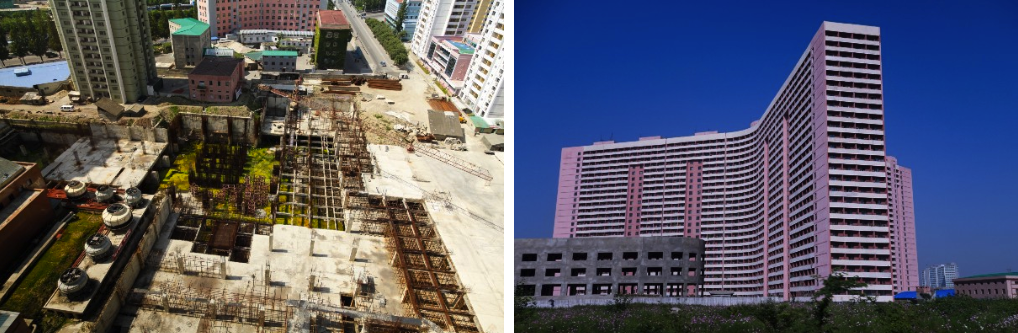 Abandoned construction sites in Pyongyang