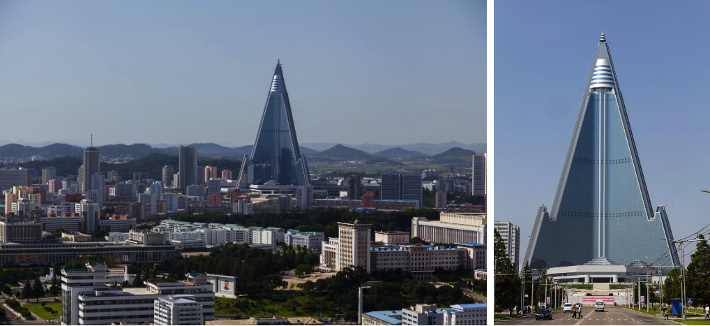 The Ryugyong Hotel, the tallest building in North Korea (though still unfinished and unoccupied since 1987)