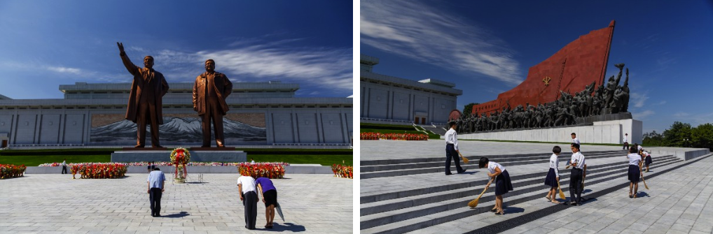 Paying respect to the Dear Leaders (left); Students sweeping monument steps (right)