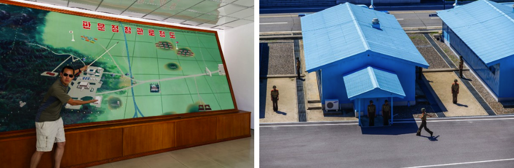 Map of the DMZ (left); North Korean soldiers at the DMZ (right)