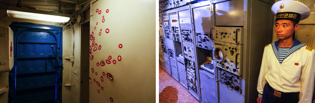 Red circles indicate every shrapnel hole shot through the hull of the USS Pueblo (left); Sailor standing guard aboard the USS Pueblo (right)