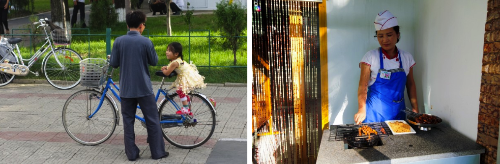 Father and daughter (left); Street food (right)