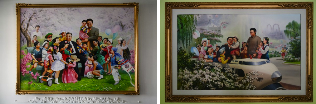 Portraits of Kim Il Sung and Kim Jong Un with children in North Korean schools