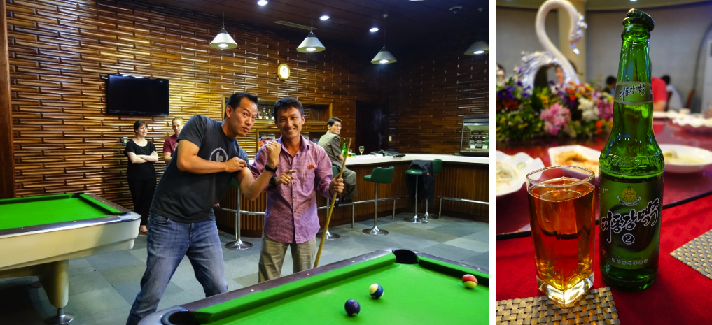 Shooting pool with locals at the Koryo Hotel (left); North Korean beer was quite tasty (right)