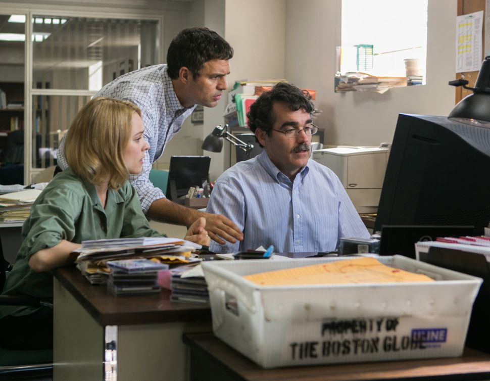 Actors playing journalists in Spotlight. In real life, these journalists are doing a great job playing journalists.
