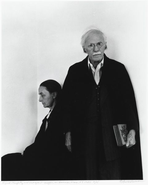 Arnold Newman (American, 1918-2006), Alfred Stieglitz and Georgia O'Keeffe, An American Place, New York City, 1944, gelatin silver print, 14 x 11 in. (35.6 x 27.9 cm). The Jewish Museum, New York, gift of Augusta and Arnold Newman, 1994-19. © Arnold Newman