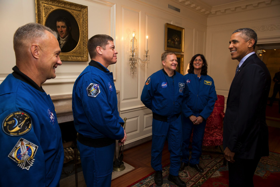 President Barack Obama greets NASA Commercial Crew astronauts: Robert Behnken, Eric Boe, Douglas Hurley and Sunita Williams in the Map Room before White House Astronomy Night on the South Lawn of the White House, Oct. 19, 2015. (Photo: White House/Pete Souza)