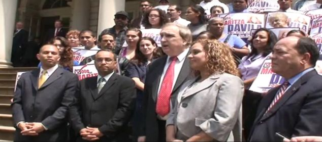 Former Assemblyman Vito Lopez, center, surrounded by Brooklyn politicians (Screengrab: Youtube).