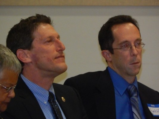 Zwicker, left, sponsor of a bill to allow 17 year-olds to vote in primary elections.
