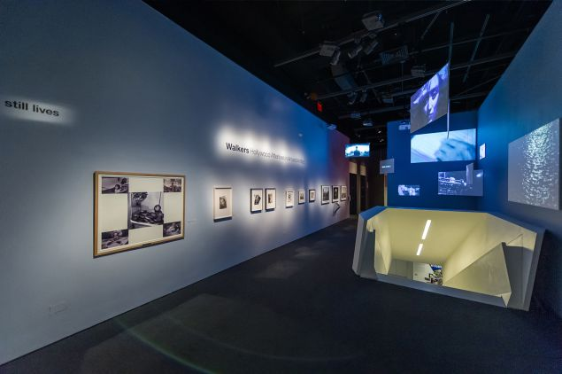 """Installation view of the exhibition """"Walkers: Hollywood Afterlives in Art and Artifact,"""" at Museum of the Moving Image, November 7, 2015–April 10, 2016. Organized by independent curator Robert M. Rubin. More information at http://movingimage.us/Walkers. Photo credit: Thanassi Karageorgiou / Museum of the Moving Image."""