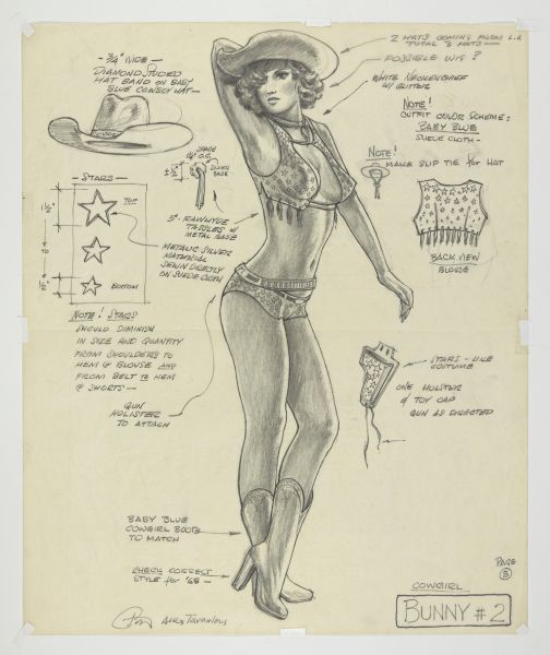 """""""Bunny 2"""" Costume Sketch (full figure) for APOCALYSE NOW (1979. Dir. Francis Ford Coppola). Production design by Dean Tavoularis. Drawing by Alex Tavoularis. Private collection. Photo by Genevieve Hanson. Courtesy of Museum of the Moving Image."""